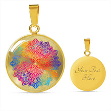 Load image into Gallery viewer, Rainbow Mandala Boho Ethnic Mehndi Circle Pendant Necklace