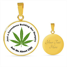Load image into Gallery viewer, Just A Cannaboss Building Her Empire CBD White Round Circle Pendant Necklace