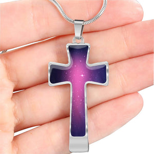 Pink and Purple Galaxy Cross Stainless Steel Necklace Gift Set