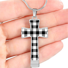 Load image into Gallery viewer, Black and White Buffalo Plaid Christian Cross Necklace With Chain and Gift Box