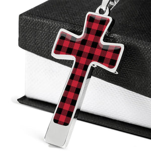 Buffalo Plaid Cross Pendant Necklace With Chain and Gift Box