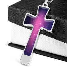 Load image into Gallery viewer, Pink and Purple Galaxy Cross Stainless Steel Necklace Gift Set