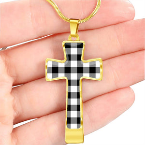 Black and White Buffalo Plaid Christian Cross Necklace With Chain and Gift Box