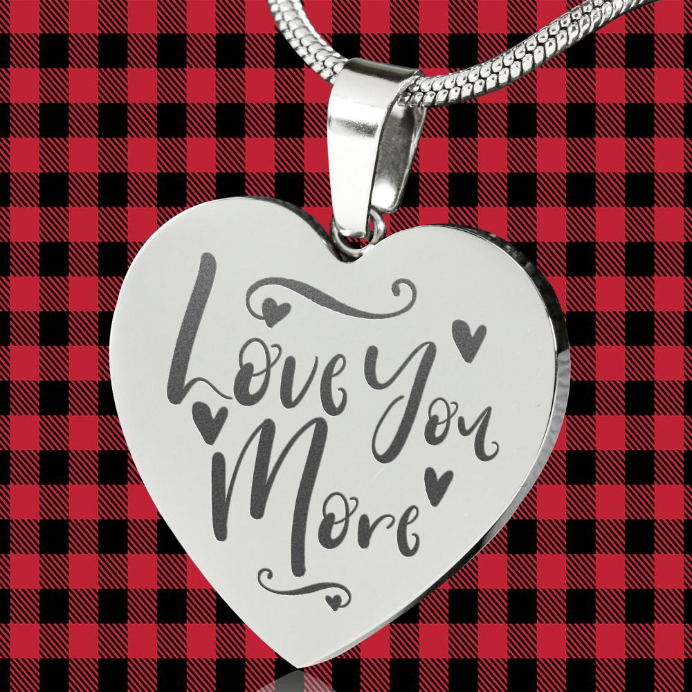 Love You More Heart Shaped Pendant Necklace Engraved Stainless Steel With Chain Anniversary Valentine's Day Gift Box Included