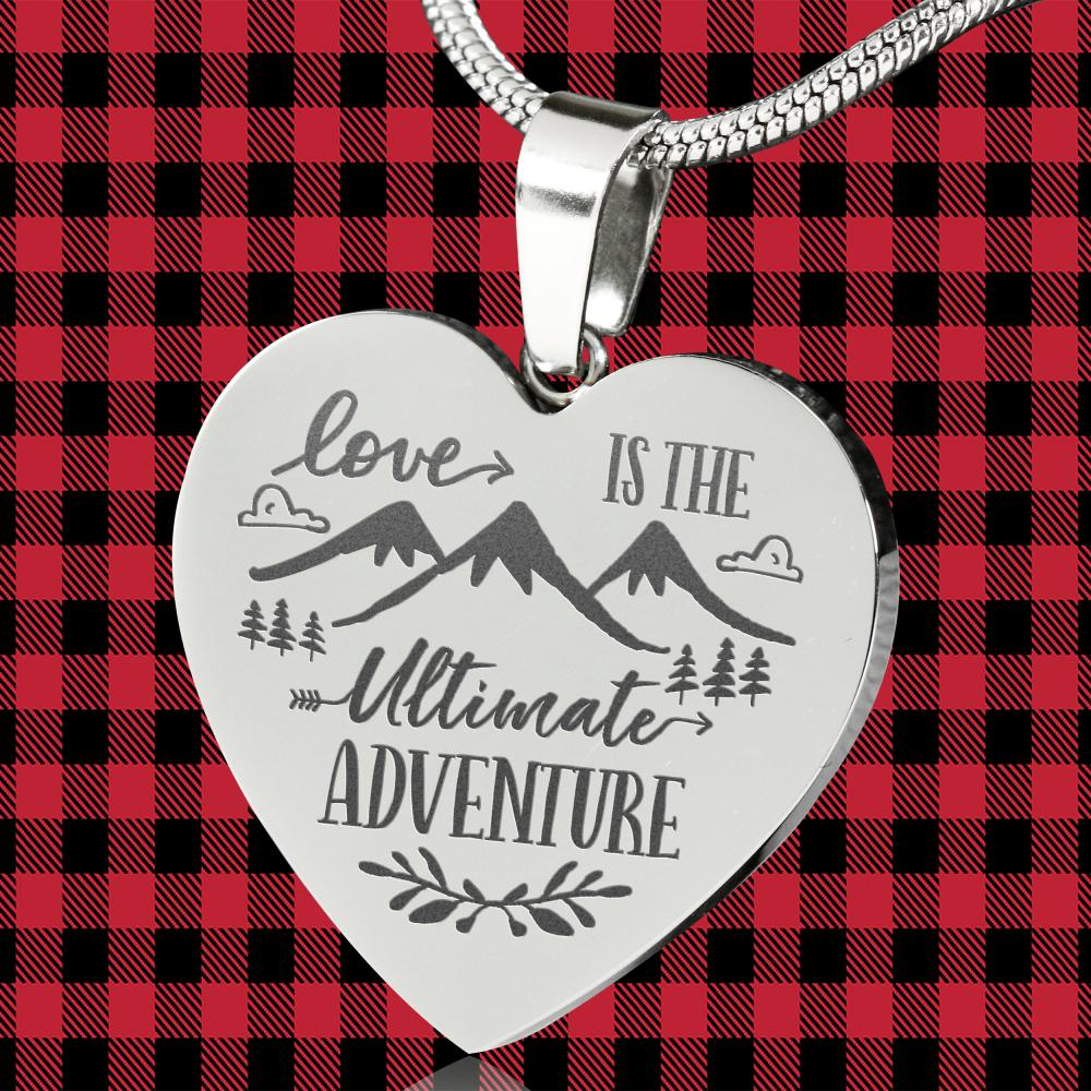 Love Is The Ultimate Adventure Heart Shaped Stainless Steel Engraved Necklace Chain and Gift Box Valentine's Day Anniversary Gift
