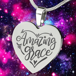 Amazing Grace Heart Pendant Stainless Steel With Necklace Chain and Gift Box
