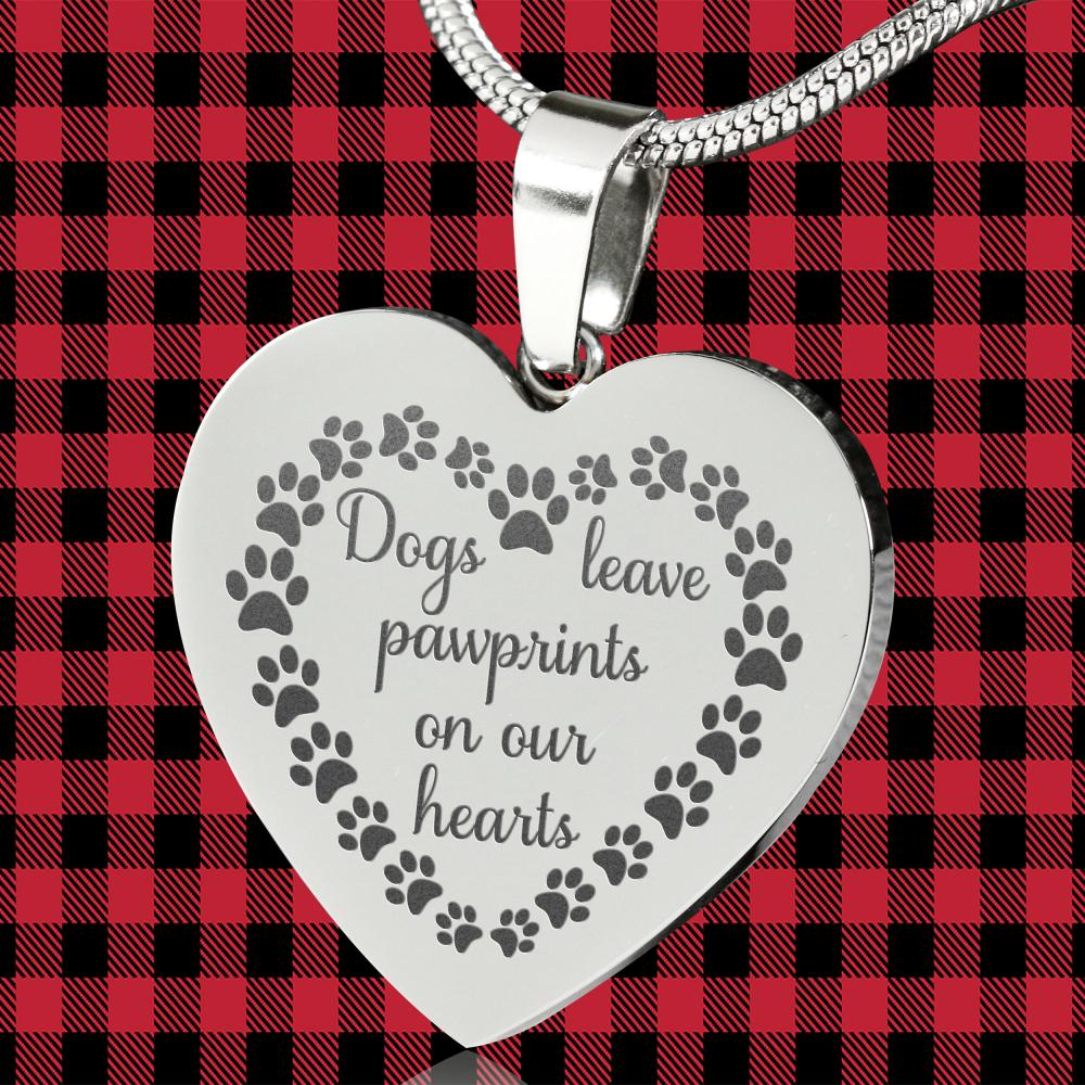 Dogs Leave Paw Prints On Our Hearts Engraved Heart Shaped Pendant Necklace Stainless Steel With Chain and Gift Box