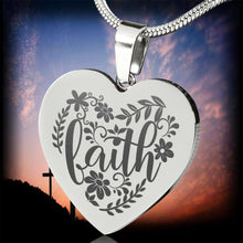 Load image into Gallery viewer, Faith Floral Engraved Heart Pendant Stainless Steel With Chain and Gift Box