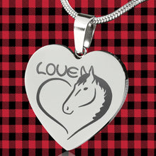 Load image into Gallery viewer, Horse Love Heart Pendant Engraved Stainless Steel With Chain Necklace and Gift Box Valentine's Day