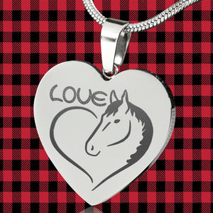 Horse Love Heart Pendant Engraved Stainless Steel With Chain Necklace and Gift Box Valentine's Day