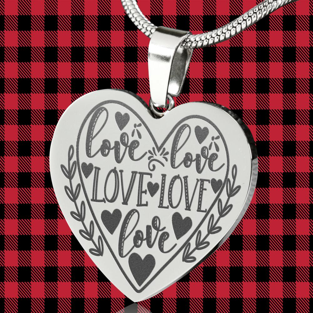 Love Engraved Stainless Steel Heart Pendant Valentine's Day Gift With Free Gift Box