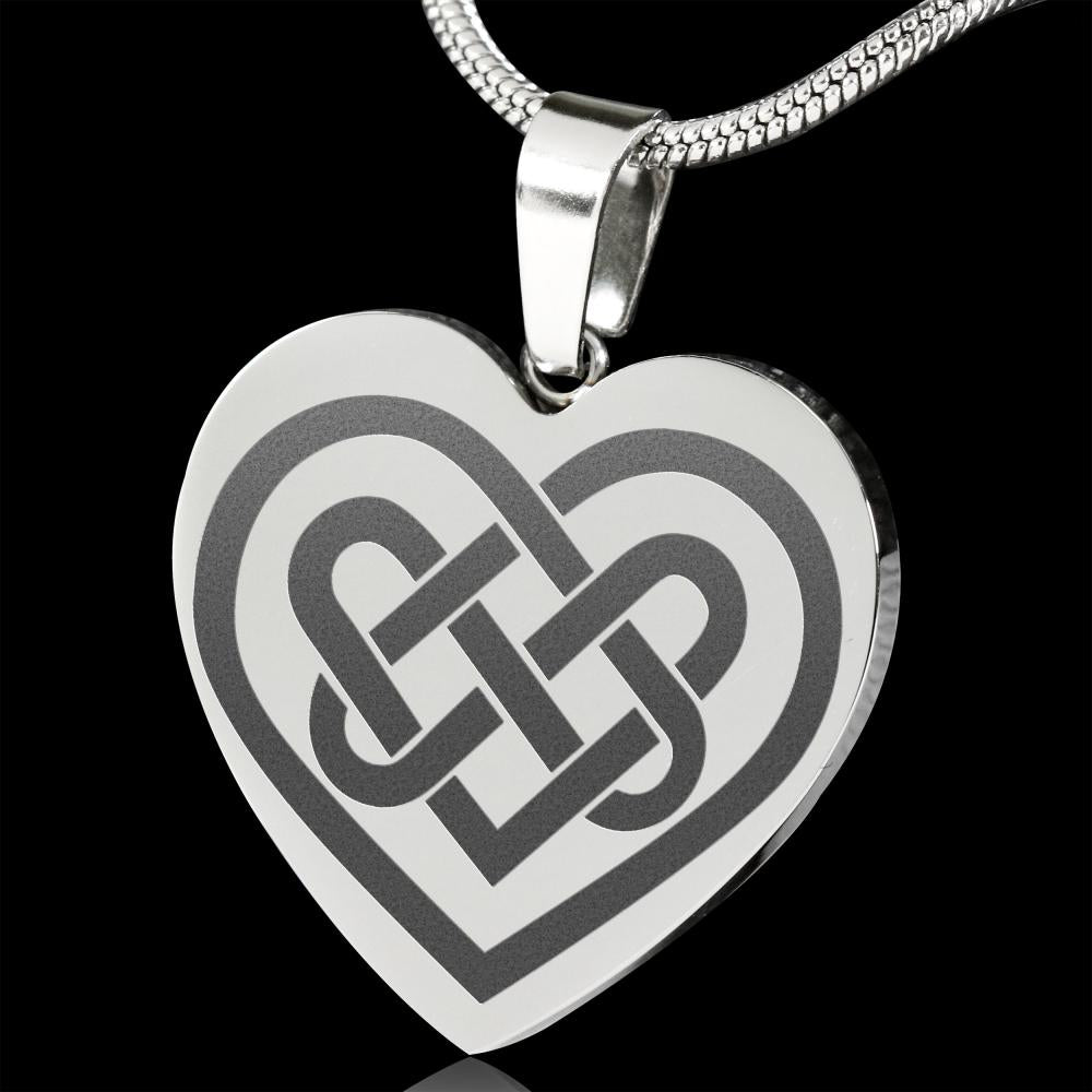 Celtic Knotwork Heart Engraved Pendent Stainless Steel