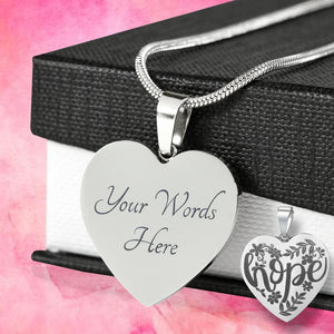Hope Lettering and Flower Design Engraved Heart Pendant Stainless Steel With Chain and Gift Box