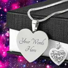 Load image into Gallery viewer, Amazing Grace Heart Pendant Stainless Steel With Necklace Chain and Gift Box