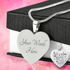 All Because Two People Fell In Love Engraved Heart Necklace Valentine's Day Jewelry Gift