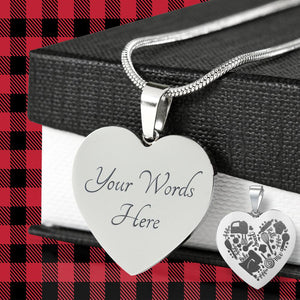 Love Baking Engraved Heart Pendant Necklace With Gift Box