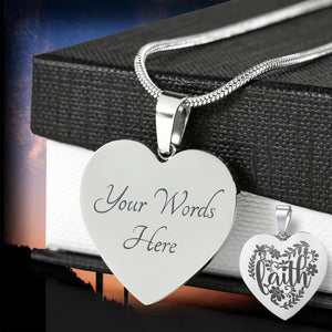 Faith Floral Engraved Heart Pendant Stainless Steel With Chain and Gift Box
