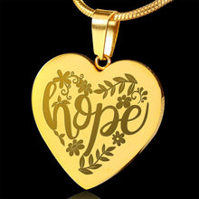 Load image into Gallery viewer, Hope Lettering and Flower Design 18K Gold Engraved Heart Pendant Stainless Steel Necklace With Chain and Gift Box Religious Gift Christian