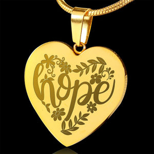 Hope Lettering and Flower Design 18K Gold Engraved Heart Pendant Stainless Steel Necklace With Chain and Gift Box Religious Gift Christian