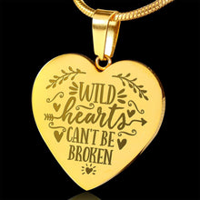 Load image into Gallery viewer, Wild Hearts Can't Be Broken 18K Gold Plated Heart Shaped Pendant Necklace With Chain and Gift Box