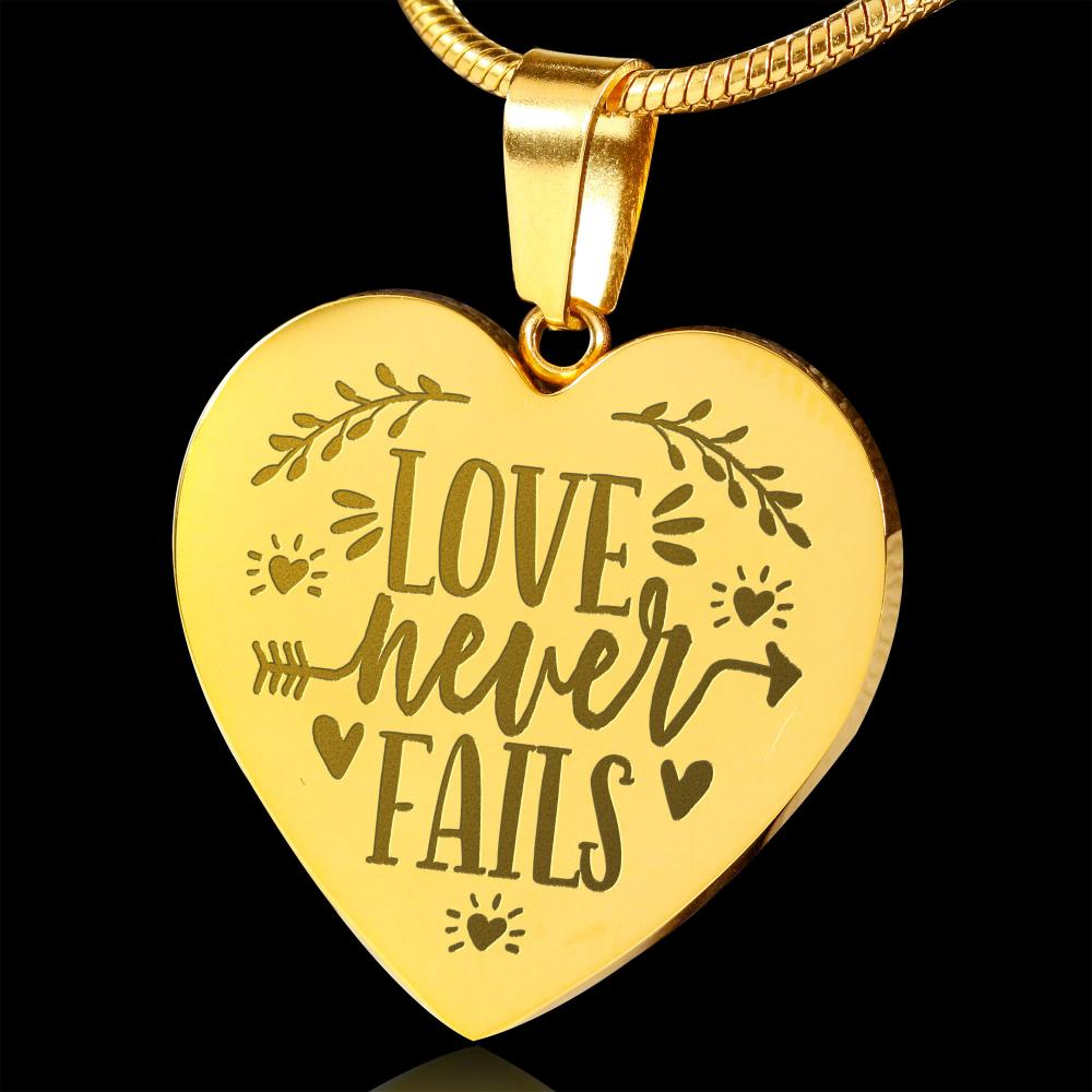 Love Never Fails 18K Gold Heart Shaped Pendant Necklace Engraved With Chain and Gift Box Anniversary Valentine's Day