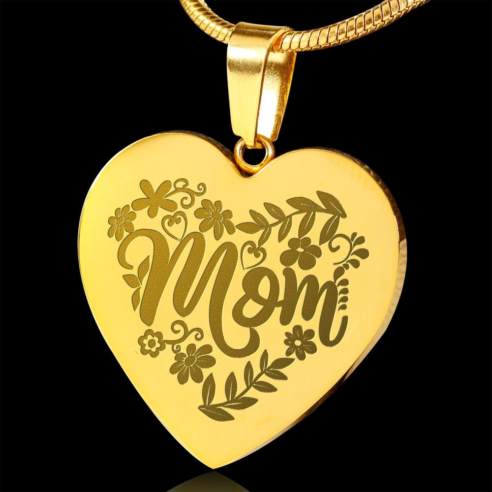 Mom Floral Design 18K Gold Plated Engraved Heart Pendant Necklace Stainless Steel Custom Options With Chain and Gift Box Mother's Day Valentine's Day