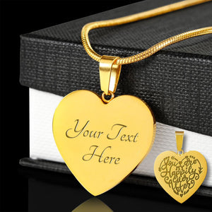 You are my happily ever after 18K gold engraved heart pendant with chain necklace and gift box anniversary valentine's day gift