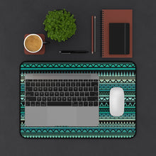 Load image into Gallery viewer, Turquoise, Tan and Black Ethnic Style Pattern Desk Mat