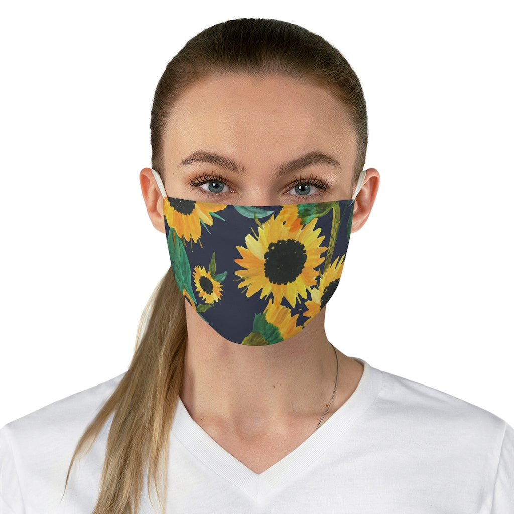 Blue With Sunflower Pattern Printed Cloth Fabric Face Mask Farmhouse Country