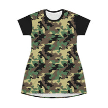 Load image into Gallery viewer, Camo Print T-Shirt Dress Tunic Length With Contrast Sleeves Green, Brown and Black Camouflage