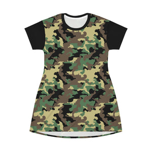 Camo Print T-Shirt Dress Tunic Length With Contrast Sleeves Green, Brown and Black Camouflage