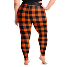 Load image into Gallery viewer, Buffalo Plaid In Orange and Black Plus Size Leggings 2X - 6X Squat Proof