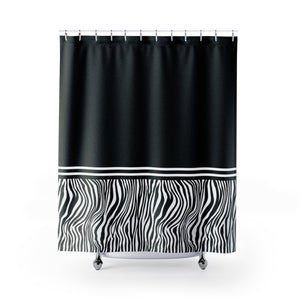 Black and White Zebra Print Contrast Shower Curtain