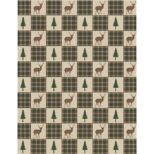 Load image into Gallery viewer, Twin Size Tan, Brown and Green Deer and Pine Trees Patchwork Plaid Pattern Microfiber Duvet Cover