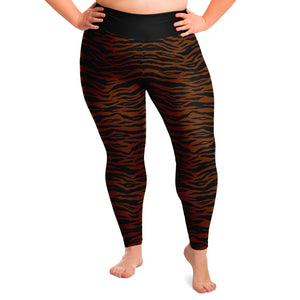 Dark Tiger Print Leggings Plus Size 2X - 6X Squat Proof