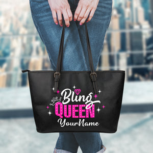 Bling Queen Tote Bag With Customized Name