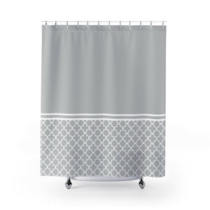 Light Gray and White Quatrefoil Color Block Contrast Shower Curtain