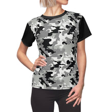 Load image into Gallery viewer, Camo Pattern Women's Tee Black, White and Gray Snow Camouflage With Contrast Sleeves