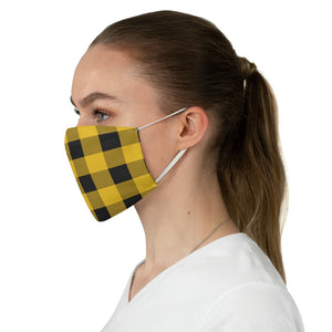 Yellow and Black Buffalo Plaid Printed Cloth Fabric Face Mask Country Buffalo Check Farmhouse Pattern