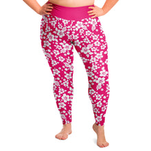 Load image into Gallery viewer, Hot Pink and White Hibiscus Hawaiian Flower Pattern Plus Size Leggings 2X-6X Squatproof