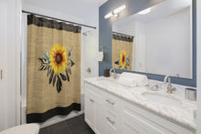Load image into Gallery viewer, Sunflower Dreamcatcher on Boho Rustic Burlap Style Printed Shower Curtain With Black Trim