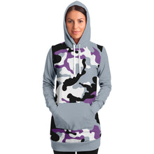 Load image into Gallery viewer, Gray and Purple Camouflage Longline Hoodie Dress With Solid Gray Sleeves, Pocket and Hood