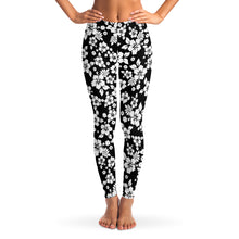 Load image into Gallery viewer, Black and White Hibiscus Flower Hawaiian Pattern Leggings XS - XL Squat Proof