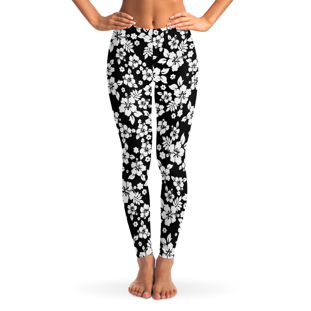 Black and White Hibiscus Flower Hawaiian Pattern Leggings XS - XL Squat Proof