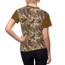 Load image into Gallery viewer, Camo Pattern Women's Tee Brown and Tan Desert Camouflage With Contrast Sleeves