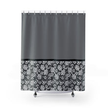 Load image into Gallery viewer, Baroque Floral Shower Curtain In Gray Contrast Color Block Pattern