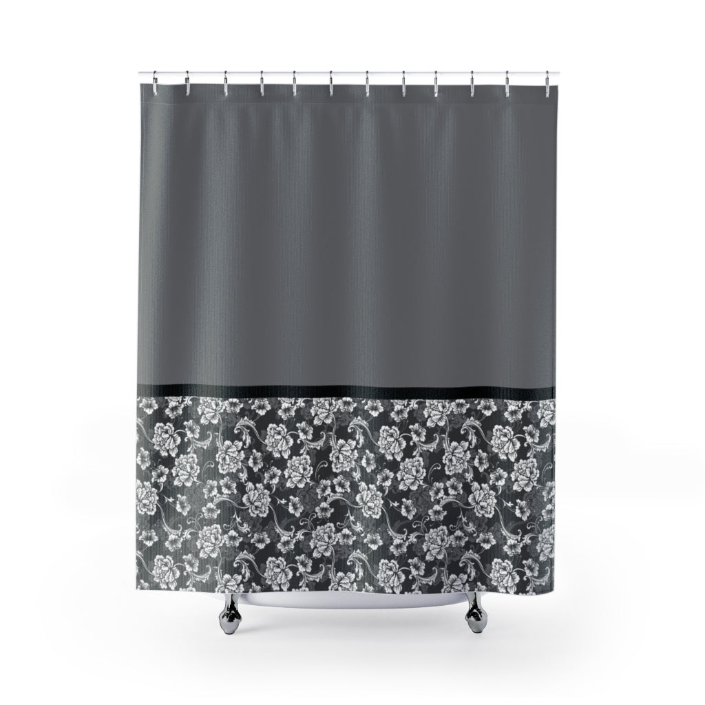 Baroque Floral Shower Curtain In Gray Contrast Color Block Pattern