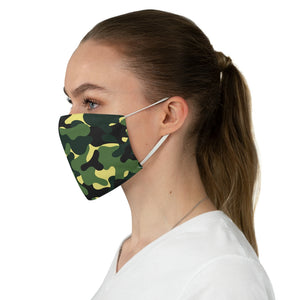 Green Camo Printed Cloth Fabric Face Mask Colorful Green, Yellow and Black Camouflage