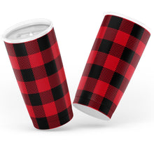 Load image into Gallery viewer, Red Buffalo Plaid Insulated 20oz Stainless Steel Travel Mug Hot or Cold