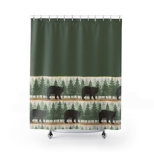 Load image into Gallery viewer, Green With Bears and Pine Trees Contrast Shower Curtain